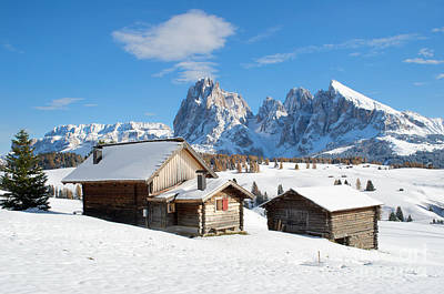 Gardena Photograph - Chalets On The Alpe Di Siusi, Seiser Alm, In The Winter Snow by IPics Photography