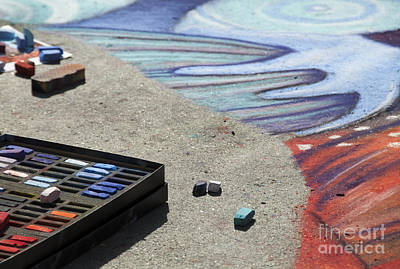 Photograph - Chalk Art Supplies On The Street by Juli Scalzi