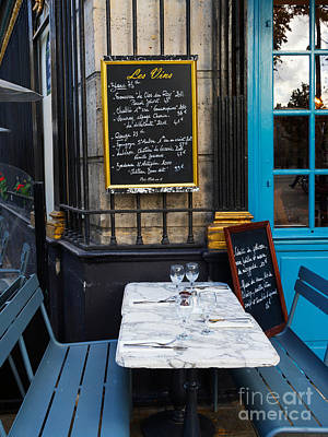 Chalkboard At An Outdoor Cafe In Paris Art Print by Louise Heusinkveld