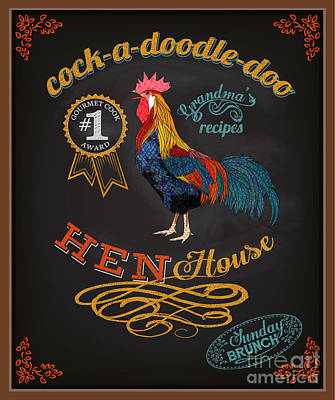 Digital Art - Chalkboard Poster For Chicken by Lanan