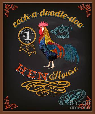 Chicken Digital Art - Chalkboard Poster For Chicken by Lanan