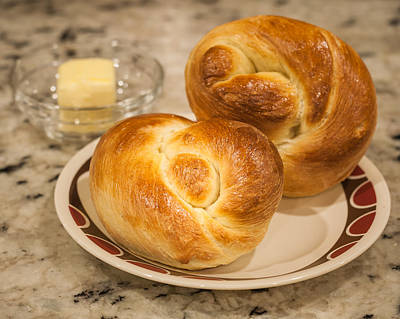 Photograph - Challah Rolls With Butter by Andy Crawford