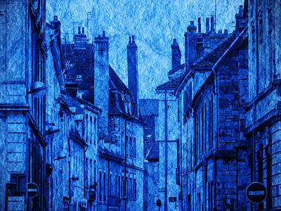 Photograph - Chalone Sur Soane Rooftops Blue by Bob Coates