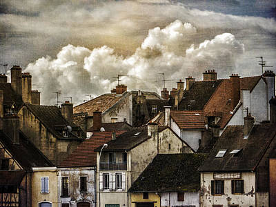 Photograph - Chalone Sur Soane Rooftops With Clouds by Bob Coates