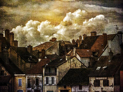 Photograph - Chalone Sur Soane Rooftops With Clouds Number Two by Bob Coates