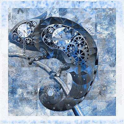 Chameleon - Blue 01b02 Art Print by Variance Collections