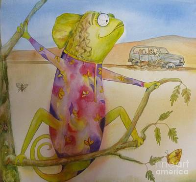 Painting - Chameleon In Dress by Donna Acheson-Juillet