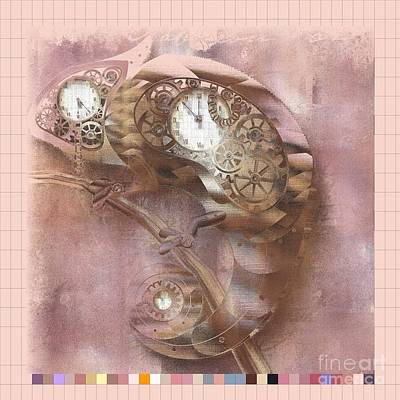 Lizards Digital Art - Chameleon - J039070015 -pink01a by Variance Collections