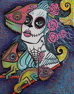 Chameleon Painting - Chameleon Sugar Skull by Laura Barbosa
