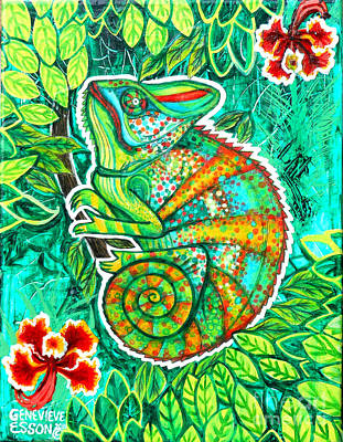 Orchids Drawing - Chameleon With Orchids by Genevieve Esson