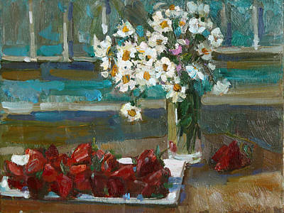 Painting - Chamomile And Strawberries by Juliya Zhukova