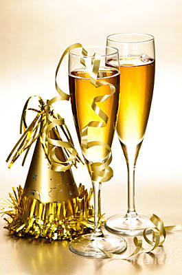 Champagne And New Years Party Decorations Art Print by Elena Elisseeva
