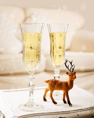 Champagne At Christmas Art Print by Amanda Elwell