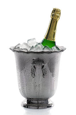 Cube Photograph - Champagne Bottle On Ice by Johan Swanepoel