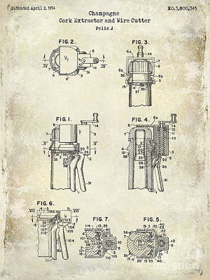 Champagne  Cork Extractor And Wire Cutter Patent Drawing Art Print by Jon Neidert