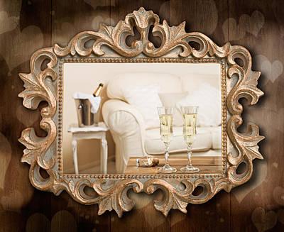 Champagne Frame Art Print by Amanda Elwell