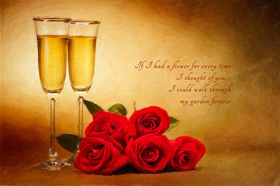 Photograph - Champagne Glasses And Roses  by Ulrich Schade