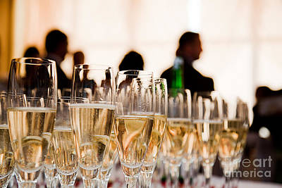 Glasses Photograph - Champagne Glasses At The Party by Michal Bednarek