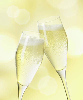 Food Photograph - Champagne Glasses, Close Up by Westend61
