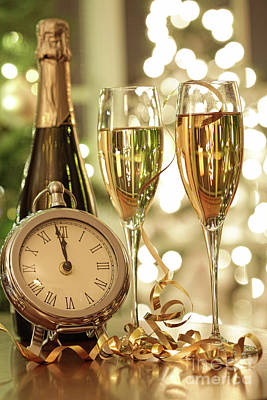 Champagne Glasses Ready To Bring In The New Year Art Print by Sandra Cunningham