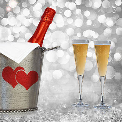 Champagne In Vintage Silver Bucket With Hammered Texture And Red Valentines Hearts  Print by Susan McKenzie