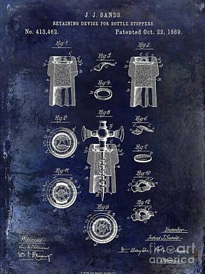 Champagne Glasses Photograph - Champagne Retaining Device Patent 1889 Blue by Jon Neidert