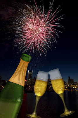 4th July Digital Art - Champagne Toast With Portland Oregon Skyline by JPLDesigns