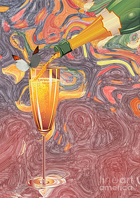 Digital Art - Champagne Van Gogh  by Liane Wright