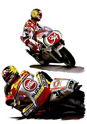 Champion 34  Kevin Schwantz Print by Iconic Images Art Gallery David Pucciarelli