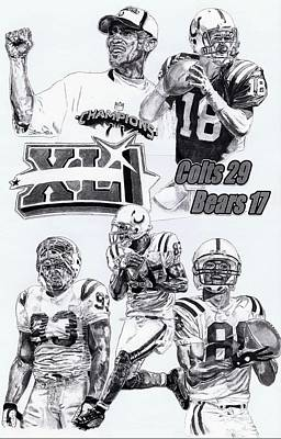 Indianapolis Drawing - Champion Colts by Jonathan Tooley