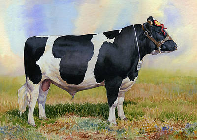Champion Friesian Bull Art Print by Anthony Forster