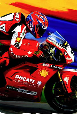 Motorcycle Racing Painting - Champions Grit Carl Fogarty by Iconic Images Art Gallery David Pucciarelli