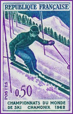 Chamonix Painting - Championships Chamonix Ski World 1962 by Lanjee Chee