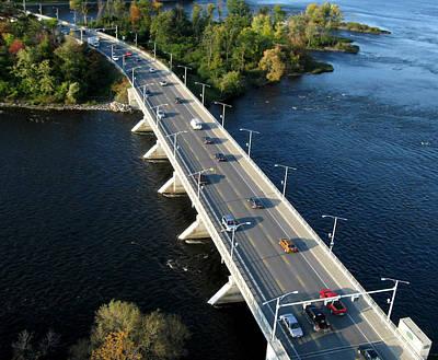 Aerial View Photograph - Champlain Bridge. Aerial View. by Rob Huntley