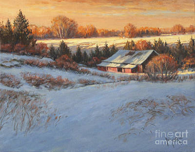 Canadiens Painting - Champs D'hiver by Pierre Morin