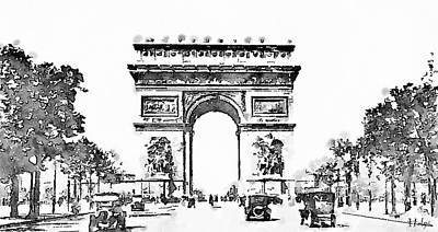 Paris Skyline Paintings - Champs Elysees 1920 by Helge