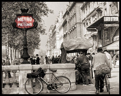 Vintage Europe Photograph - Champs Elysees 1952 by Eric  Bjerke Sr