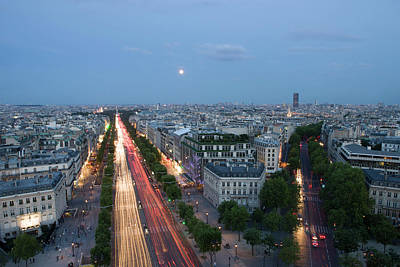 Champs-elysees Paris From The Top Art Print by Tom Norring