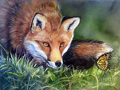 Fox Kit Painting - Chance Encounter by Patricia Pushaw