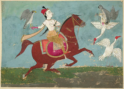 Falconry Photograph - Chand Bibi Hawking by British Library