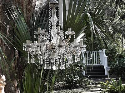 Chandelier In The Garden Art Print by Patricia Greer