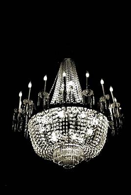 Photograph - Chandelier On Black by Bob Wall