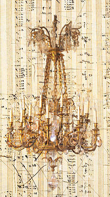 Chandelier With Franz Liszt Music Score Art Print by Suzanne Powers