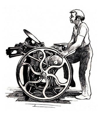 Letterpress Drawing - Chandler And Price Old Style by Dale Michels