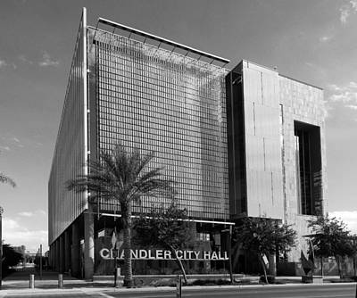 Photograph - Chandler City Hall Bw by C H Apperson