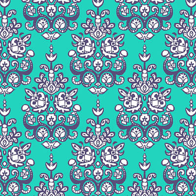 Turquoise Drawing - Chandraki Damask Ikat by Sharon Turner