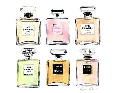 Chanel Wall Art - Painting - Chanel Perfumes by Laura Row Studio