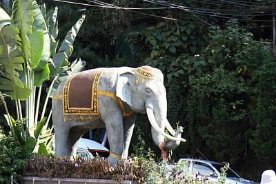 Chang Statue - Wat Phrathat Doi Suthep - Chiang Mai Thailand - 01131 Print by DC Photographer
