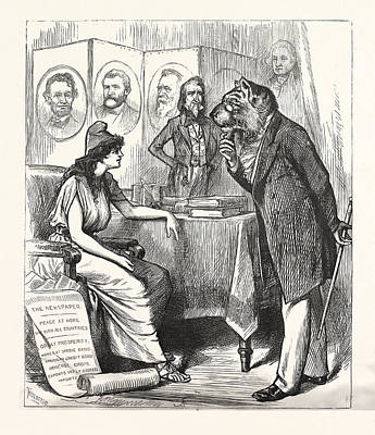 Crying Drawing - Change Is Necessary Democratic Cry, Us, Usa, Engraving 1880 by English School
