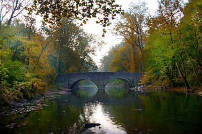 Changing Leaves At Bells Mill Road Bridge Art Print by Bill Cannon
